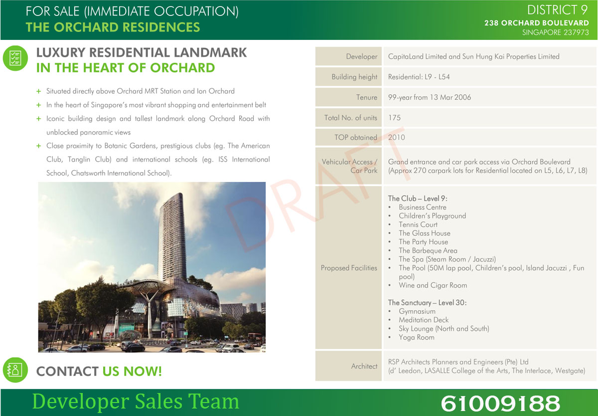 orchard residences factsheet
